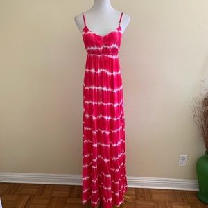 Aeropostale Red Dress Maxi Tie Dye Spaghetti Strap